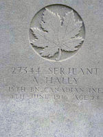 Grave Marker– Grave of Sgt Albert Haley 15th Bn (48th Highlanders of Canada), Lijssenthoek British Military Cemetery, Belgium. Dileas Gu Brath.  Photo by BGen G Young 15th Bn Memorial Project Team 11 Nov 09