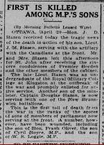 Newspaper Clipping– The Morning Bulletin Edmonton & Alberta Friday April 21, 1916.