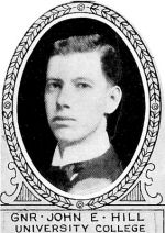 Photo of John Hill– From: The Varsity Magazine Supplement published by The Students Administrative Council, University of Toronto 1918.   Submitted for the Soldiers' Tower Committee, University of Toronto, by Operation Picture Me.