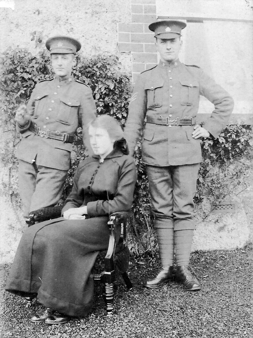 Group Photo– John Shaw (603137, died 3 weeks after Robert) on the left; Robert Howe (602253) on the right. Unknown woman in the middle. Robert's military record shows he was a Sgt.