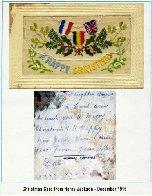 Carte de Noël – Carte de Noël envoyée de France en 1917 - La dernière lettre qu'il a postée au début de novembre 1917 avant d'arriver au front, quelques jours avant sa mort.
