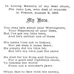 Poem– Poem written by John Clark in memory of his greatest friend John Lee. The poem has has been printed here with the permission of John Clark's daughter Margaret Cunningham.