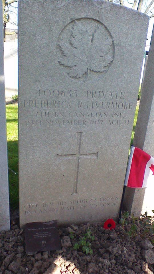 Grave Marker– Frederick Livermore grave April 2015.  From parishioner of his church.