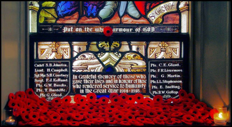Memorial– WWI window from St. George's Anglican Church in London, Ontario where Frederick and his family attended and he is remembered