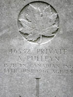 Grave Marker– Grave of Pte Andrew Pulleyn, 15th Bn (48th Highlanders of Canada) Lijssenthoek Military Cemetery, Belgium. Dileas Gu Brath.  Photo by BGen G Young 15th Bn Memorial Project Team 11 Nov 09
