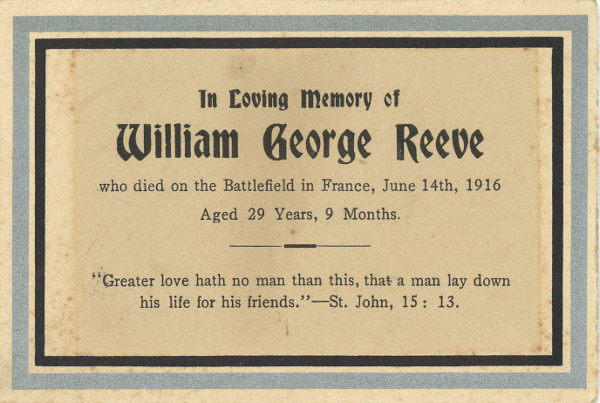 Memorial Card– Memorial card for William George Reeve