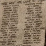 Detail of Memorial plaque– Detail of Memorial plaque affixed to the Stanstead War  Memorial.