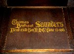 Memorial– A detail of the memorial panel dedicated to Lt. Thomas Brehaut Saunders.  Located in the St. Thomas Church Baptistry, Toronto, Ontario.