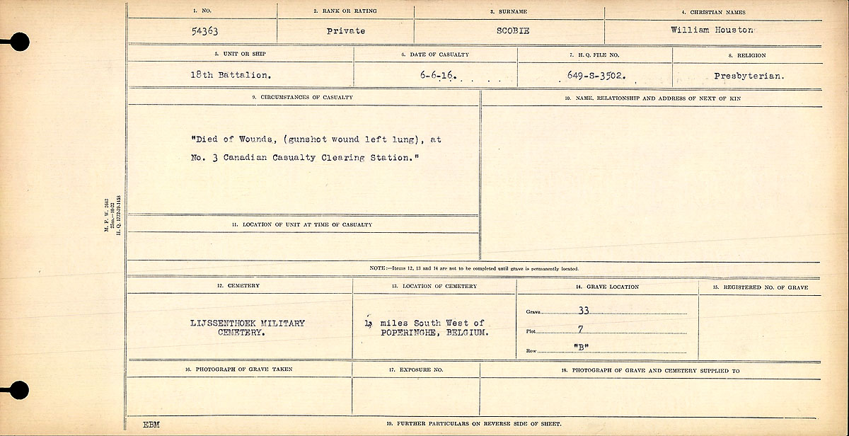 "Circumstances of Death Registers– ""Died of Wounds, (gunshot wound left lung), at No. 3 Canadian Casualty Clearing Station."