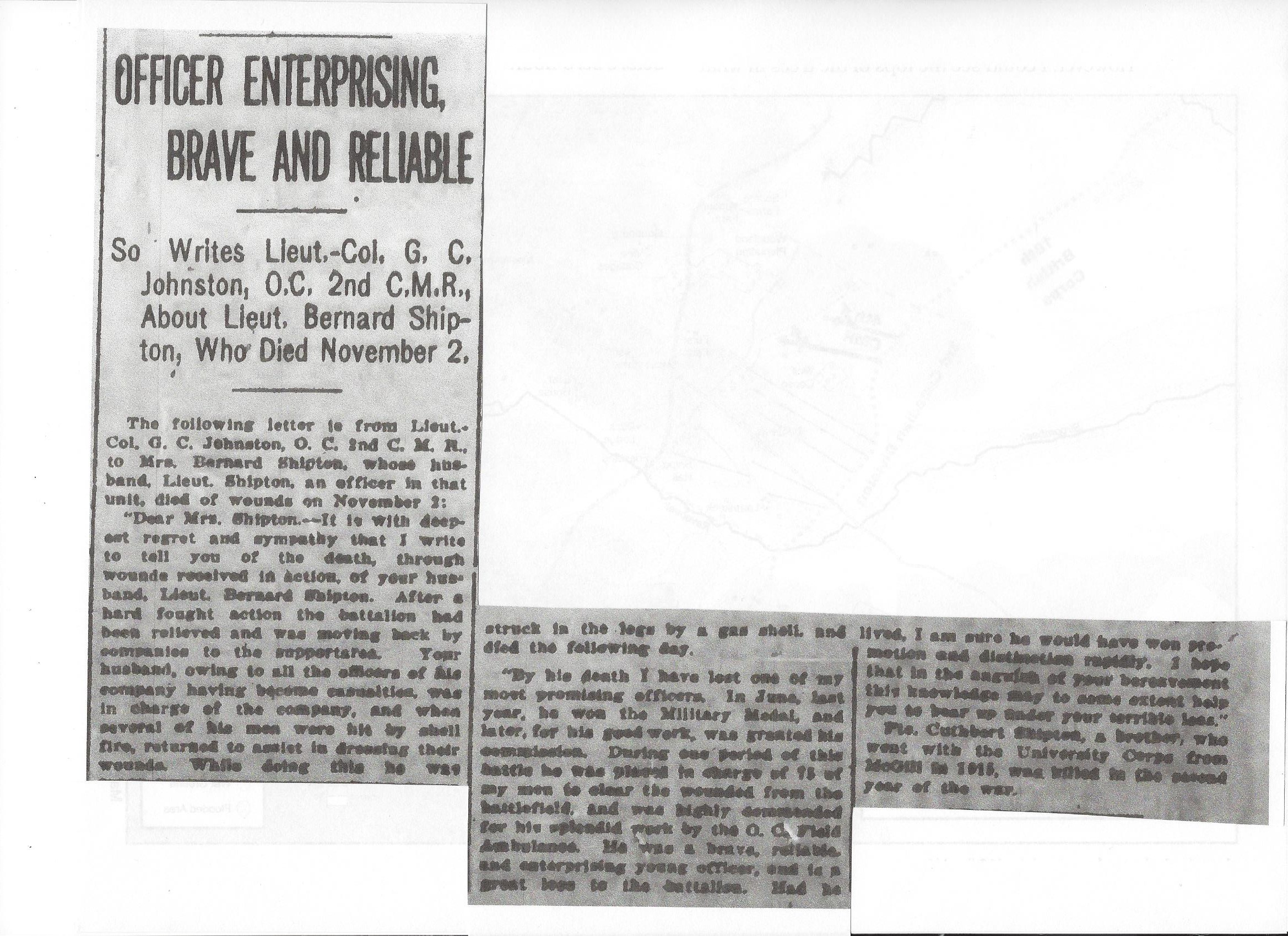 Newspaper Clipping– Newspaper clipping from the Daily Colonist of November 30, 1917. Image taken from web address of http://archive.org/stream/dailycolonist59y306uvic#page/n0/mode/1up