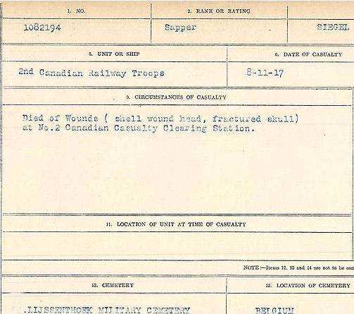 Circumstances of death registers– Sapper Henry Siegel