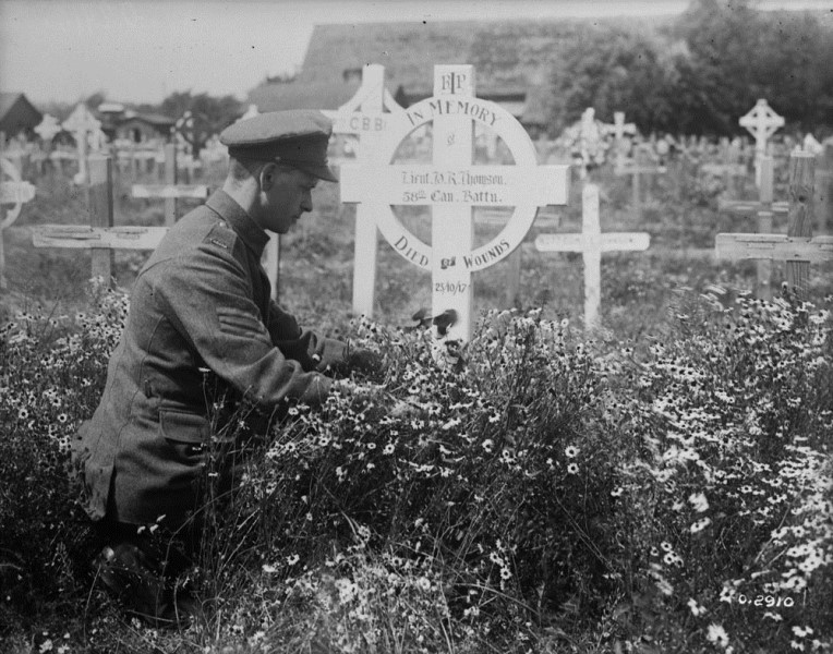 Photo of HENRY RICHARD THOMSON– Grave of Lieutenant Henry Richard Thomson in lijssenthoek Cemetery, near Poperinge, Belgium. July, 1918