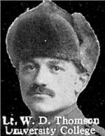 Photo of William Thomson– From: The Varsity Magazine Supplement published by The Students Administrative Council, University of Toronto 1916.  