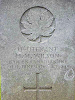 Grave Marker– Grave of Lt Harold M Wilson, 15th Bn (48th Highlamders of Canada) Lijssenthoek British Military Cemetery, Belgium. Dileas Gu Brath.
