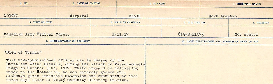 Circumstances of Death– Source: Library and Archives Canada.  CIRCUMSTANCES OF DEATH REGISTERS FIRST WORLD WAR Surnames:  Bea to Belisle  Mircoform Sequence 7; Volume Number 31829_B016717. Reference RG150, 1992-93/314, 151.  Page 19 of 724.