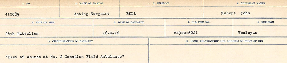Photo of ROBERT JOHN BELL– Source: Library and Archives Canada.  CIRCUMSTANCES OF DEATH REGISTERS FIRST WORLD WAR Surnames:  Bell to Bernaquez.  Mircoform Sequence 8; Volume Number 31829_B016718; Reference RG150, 1992-93/314, 152 Page 185 of 670.