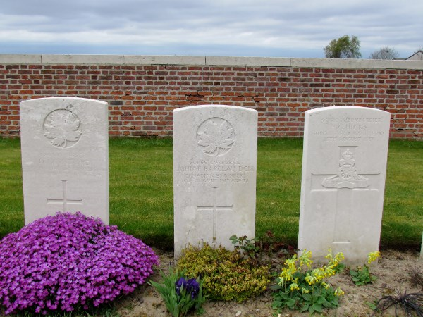 Grave Marker– J F Barclay, Grave marker, La Clytte Millitary Cemetery, Belgium, Photo by Ken Riley