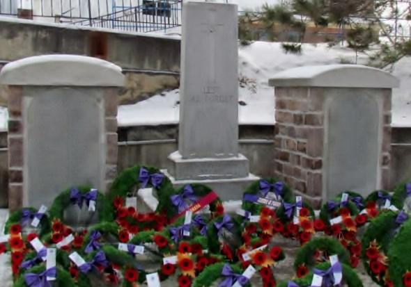 Cenotaph Cobalt Ontario– Cenotaph, Edward J Holland VC Memorial Park, Cobalt Ontario, Photo by Ken Riley
