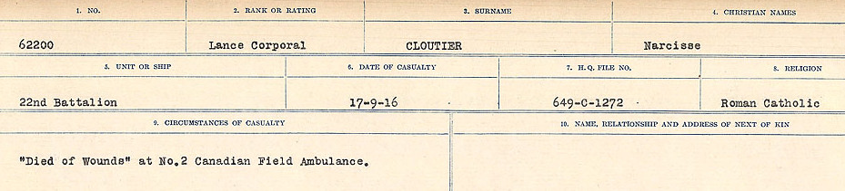 Attestation Papers– Source: Library and Archives Canada.  CIRCUMSTANCES OF DEATH REGISTERS, FIRST WORLD WAR Surnames:  CLEAL TO CONNOLLY.  Microform Sequence 21; Volume Number 31829_B016730. Reference RG150, 1992-93/314, 165.  Page 287 of 1384.