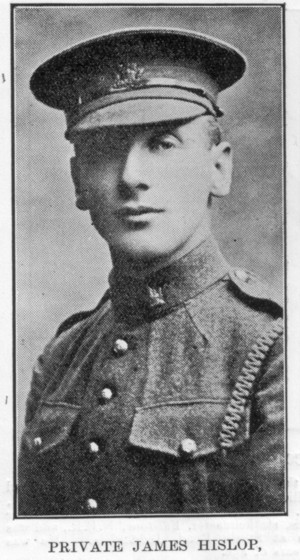 Newspaper Clipping– Photo of Private Hislop [Hyslop]. Source unknown.