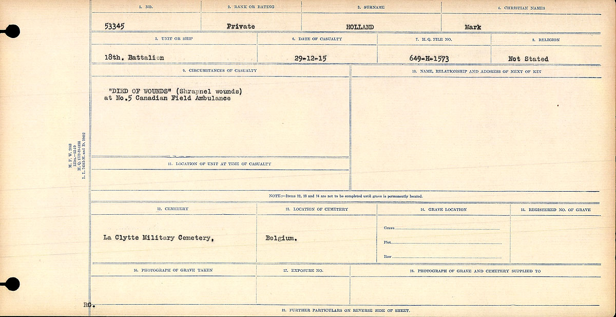 """Circumstances of Death– Circumstances of Death Register: """"DIED OF WOUNDS."""" (Shrapnel wounds) at No.5 Canadian Field Ambulance."""