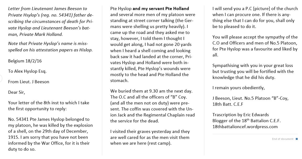 Letter– Letter describing circumstances of death from Lt. Beeson. Pte. Holland was Lt. Beeson's batman (servant).
