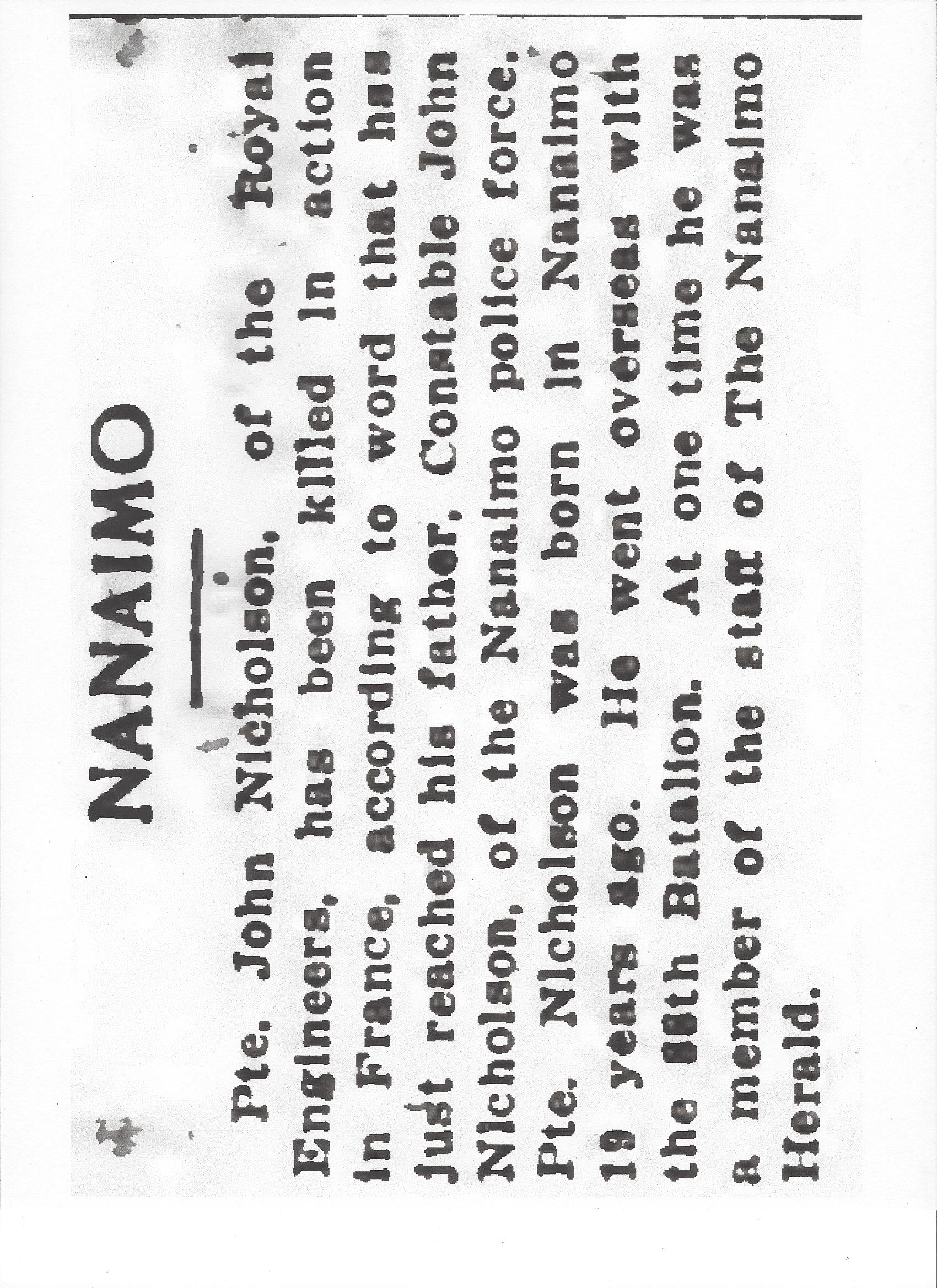 Newspaper clipping– From the Daily Colonist of April 6, 1917. Image taken from web address of http://archive.org/stream/dailycolonist59y100uvic#page/n0/mode/1up