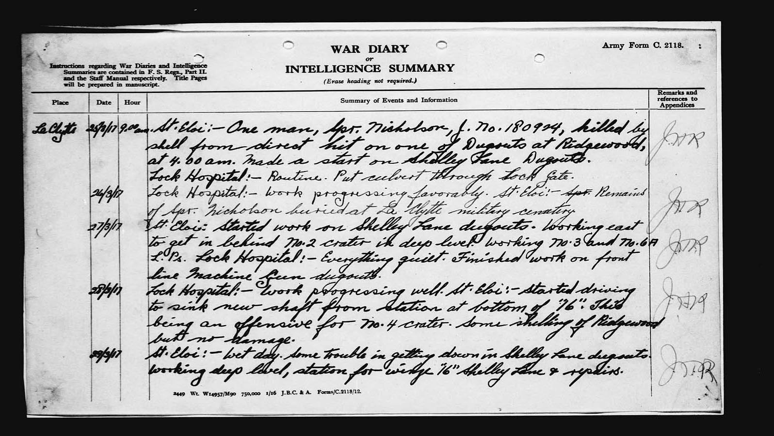 Wartime diary– Of the 1st Canadian Tunneling Company for March 1917. Image taken from web address of http://www.collectionscanada.gc.ca/lac-bac/results/images?module=images&SortSpec=score+desc&Language=eng&ShowForm=hide&SearchIn_1=mikanNumber&SearchInText_1=2004898&Operator_1=AND&SearchIn_2=&SearchInText_2=&Operator_2=AND&SearchIn_3=&SearchInText_3=&Level=&MaterialDateOperator=after&MaterialDate=&DigitalImages=1&Source=&ResultCount=10