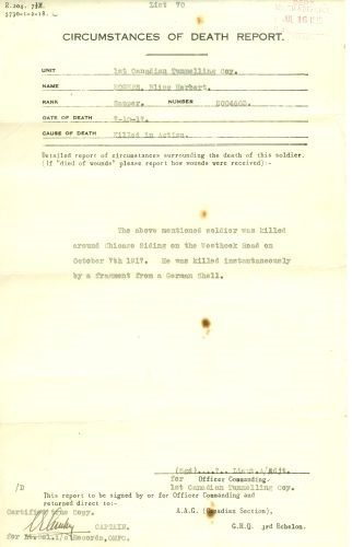 """Circumstances of Death Registers– Letter dated July 16, 1918, in the Lutz Mountain Heritage Museum, sets forth the details of death of Bliss Herbert Rogers #2004603: """"The above mentioned soldier was killed around Chicago Siding on the Westhoek Road on October 7, 1917. He was killed instantaneously by a fragment from a German shell. Bliss Herbert Rogers (!876-1917) was the son of George and Elizabeth Rogers, Berry's Mills, Westmorland County, New Brunswick and died during World War I"""