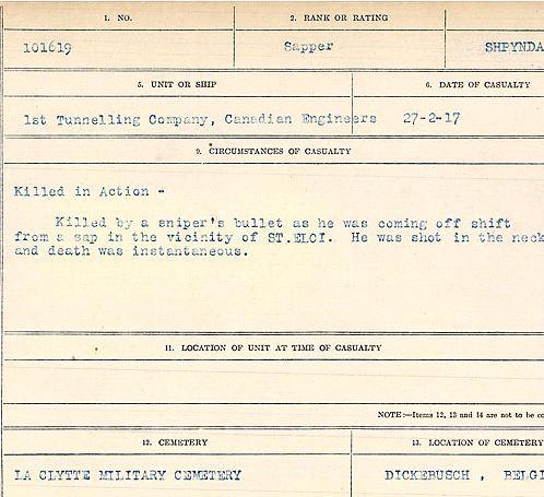 Circumstances of death registers– Sapper Harry Shypynda