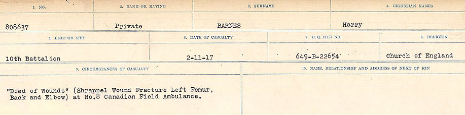 Circumstances of Death– Source: Library and Archives Canada.  CIRCUMSTANCES OF DEATH REGISTERS, FIRST WORLD WAR Surnames:  Bark to Bazinet. Mircoform Sequence 6; Volume Number 31829_B016716. Reference RG150, 1992-93/314, 150.  Page 207 of 1058.