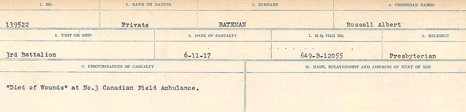 Circumstances of Death– Source: Library and Archives Canada.  CIRCUMSTANCES OF DEATH REGISTERS, FIRST WORLD WAR Surnames:  Bark to Bazinet. Mircoform Sequence 6; Volume Number 31829_B016716. Reference RG150, 1992-93/314, 150.  Page 805 of 1058.