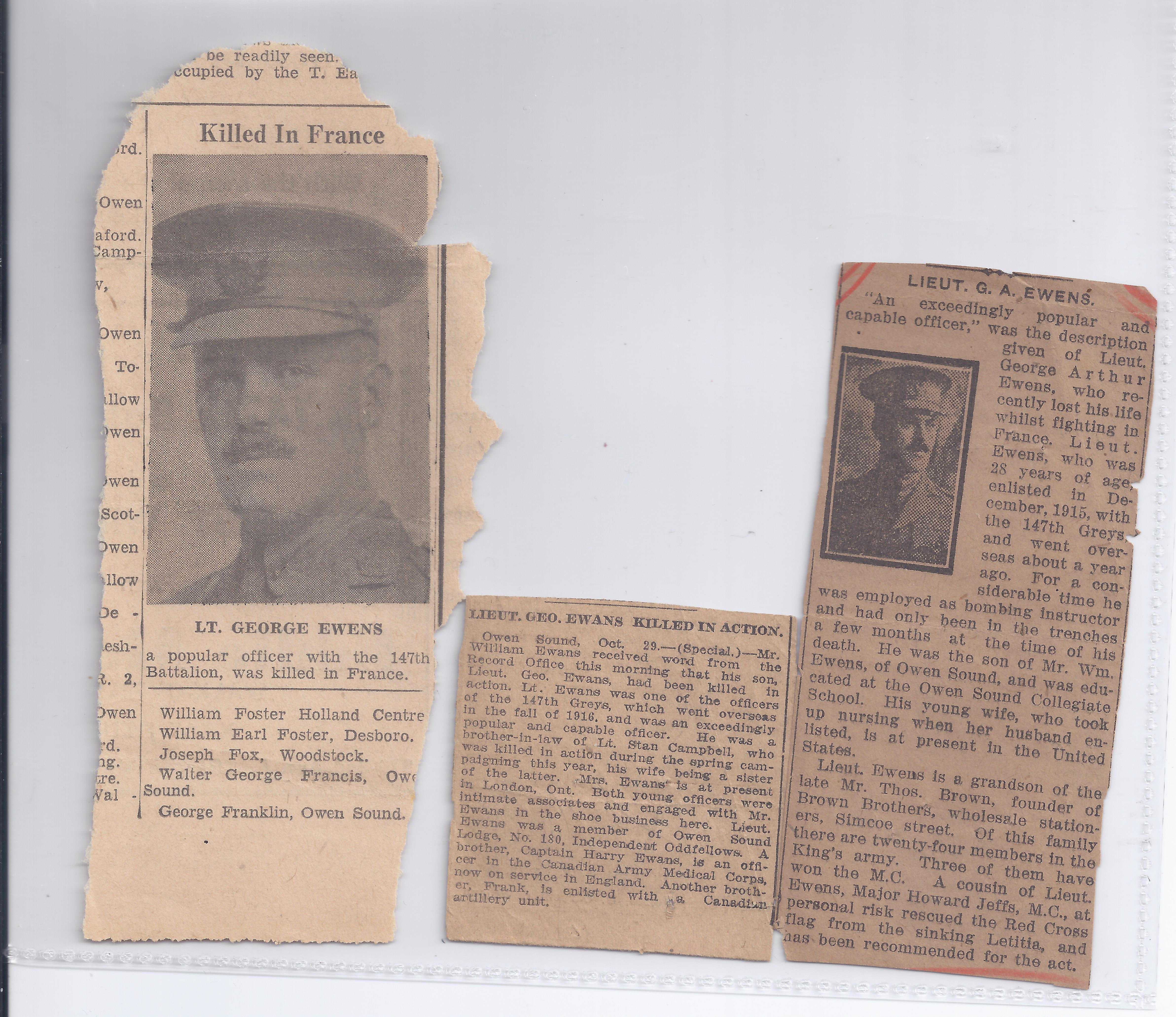 Newspaper Clipping– George Ewens' newspaper clippings regarding his death..