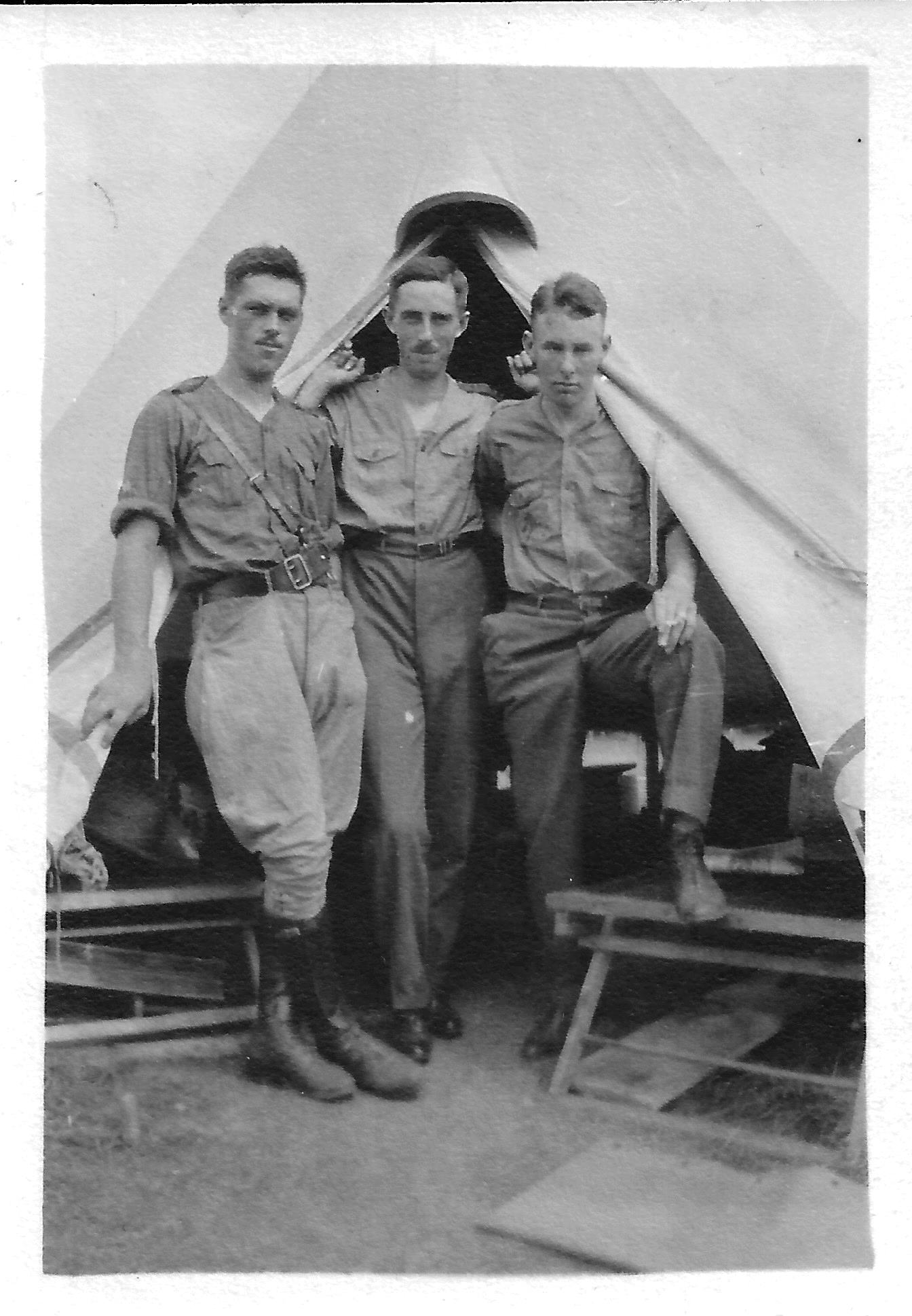 Group Photo– Left to Right: George Ewens, Stanley Campbell (his brother in law), and James Robb.  In training.