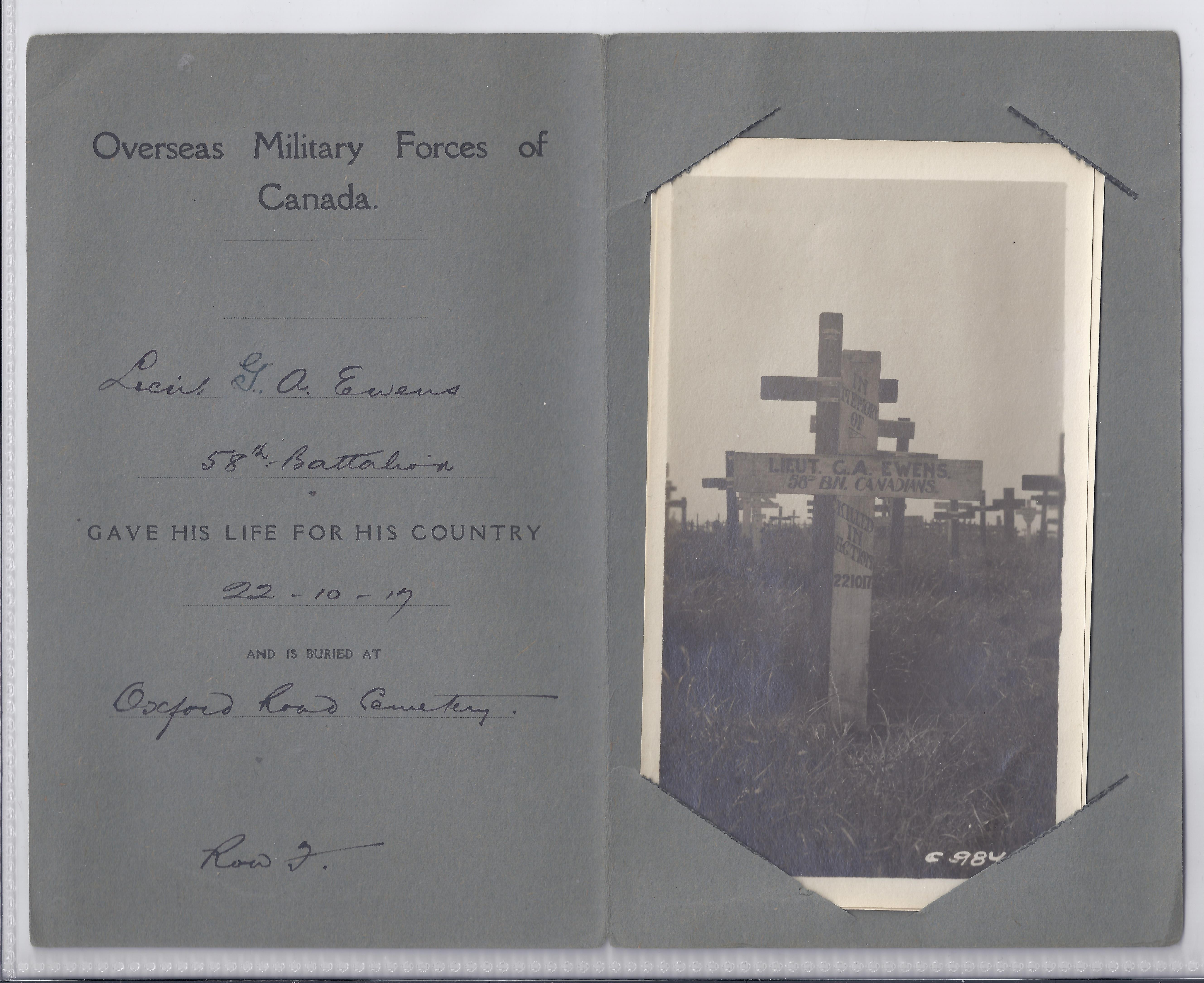 Grave Marker– George Ewens' wooden cross in France.