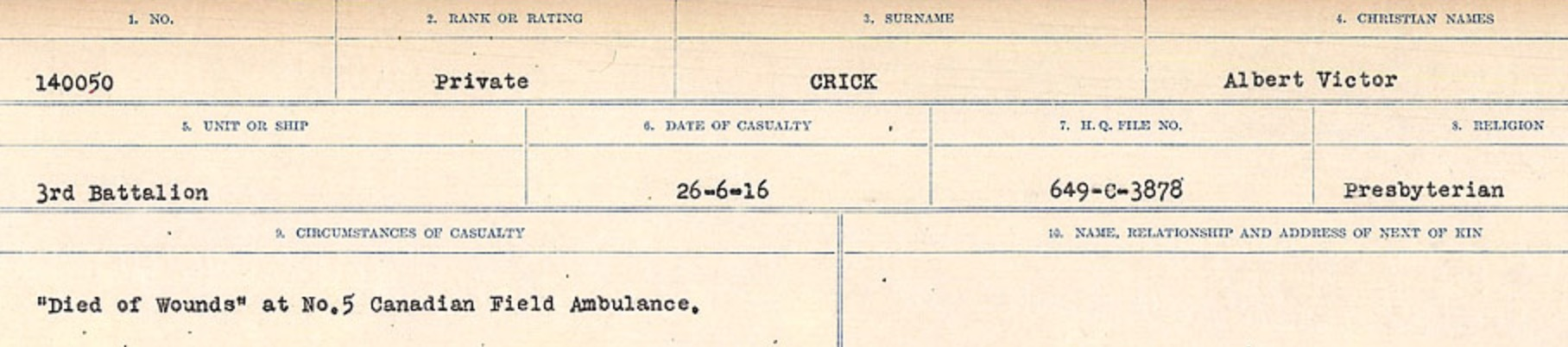 Circumstances of death registers– Source: Library and Archives Canada. CIRCUMSTANCES OF DEATH REGISTERS, FIRST WORLD WAR Surnames: CRABB TO CROSSLAND Microform Sequence 24; Volume Number 31829_B016733. Reference RG150, 1992-93/314, 168. Page 517 of 788.