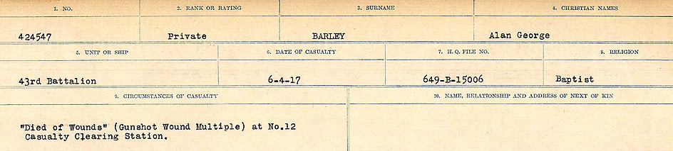 Circumstances of Death Registers– Source: Library and Archives Canada.  CIRCUMSTANCES OF DEATH REGISTERS, FIRST WORLD WAR Surnames:  Bark to Bazinet. Mircoform Sequence 6; Volume Number 31829_B016716. Reference RG150, 1992-93/314, 150.  Page 91 of 1058.