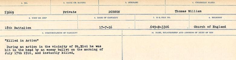 Circumstances of death registers– Source: Library and Archives Canada. CIRCUMSTANCES OF DEATH REGISTERS, FIRST WORLD WAR. Surnames: Deuel to Domoney. Microform Sequence 28; Volume Number 31829_B016737. Reference RG150, 1992-93/314, 172. Page 839 of 1084.