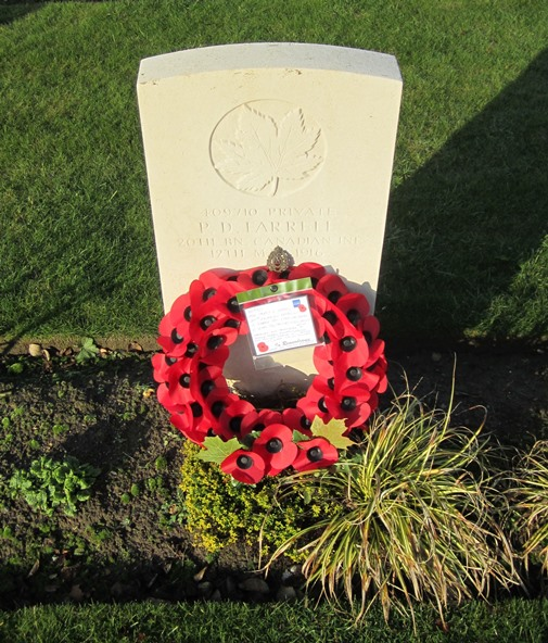 Grave Marker– Wreath laid by family member in honour of Pte Farrell on 11 November 2016