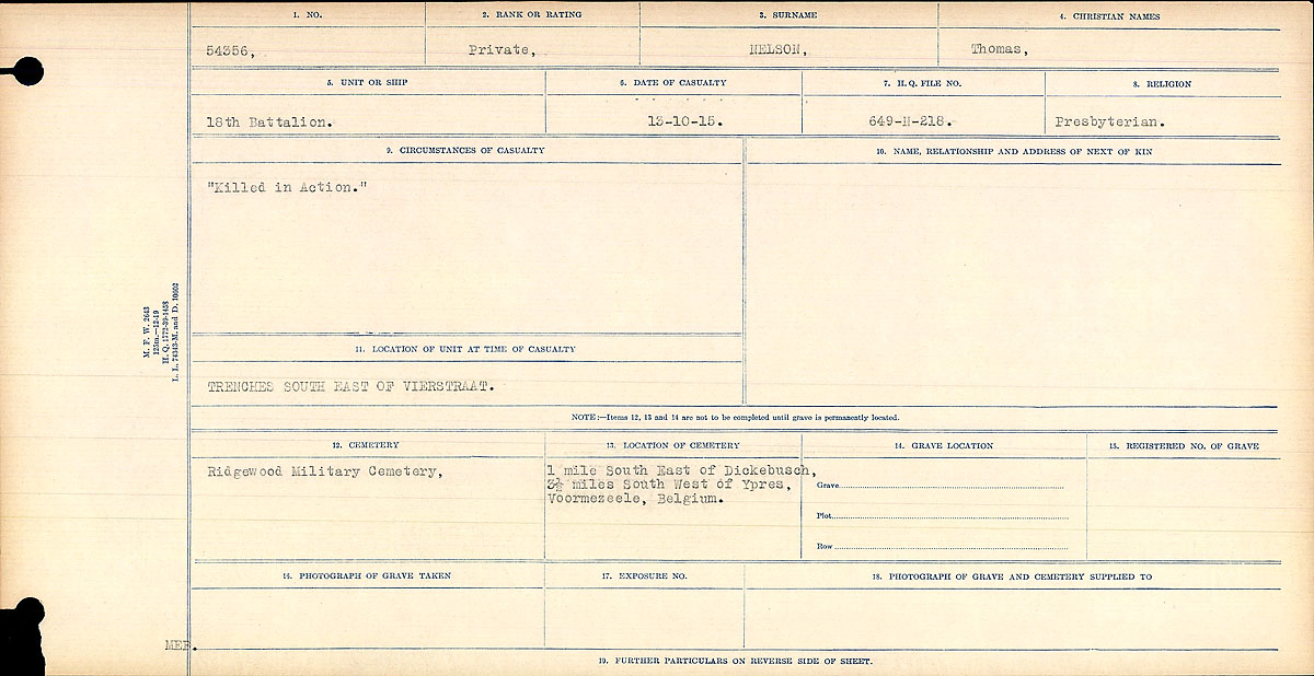 """Circumstances of Death Registers– Brother of Nelson, William Service No. 54340. Killed in the same day and both served in the 18th Battalion. Elizabeth Nelson mother.  """"Killed in Action""""  Contributed by E.Edwards www.18thbattalioncef.wordpress.com"""