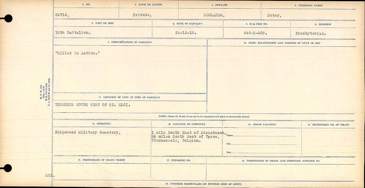 """Circumstances of Death Registers– Circumstances of Death Register: """"Killed in Action""""  Contributed by E.Edwards www.18thbattalioncef.wordpress.com"""