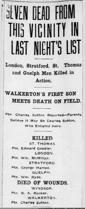 Newspaper clipping– From the London Free Press December 1915. Submitted for the project Operation Picture Me