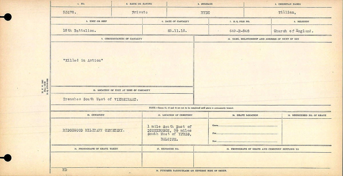 """Circumstances of Death Registers– Circumstances of Death Card: """"Killed in Action""""  Contributed by E.Edwards www.18thbattalioncef.wordpress.com"""