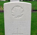 Grave Marker– William W Storing's grave 5 km south of Ypres