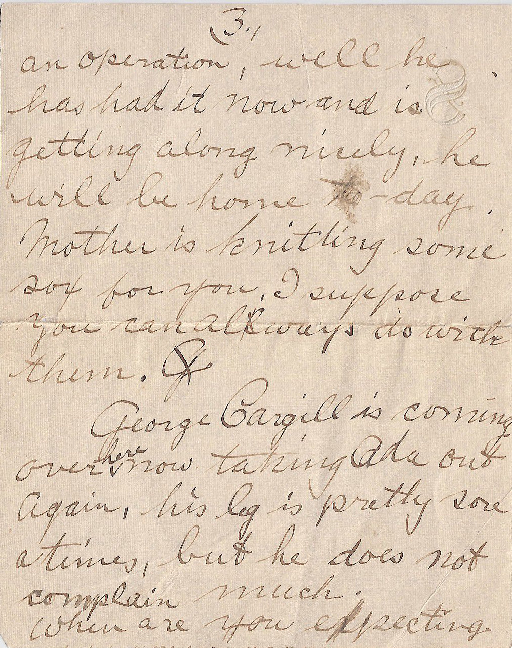 Letter to FREDERICK CHARLES SWAIT– The third of four pages of a letter sent from my grandmother to Uncle Fred, returned to her because he was deceased.