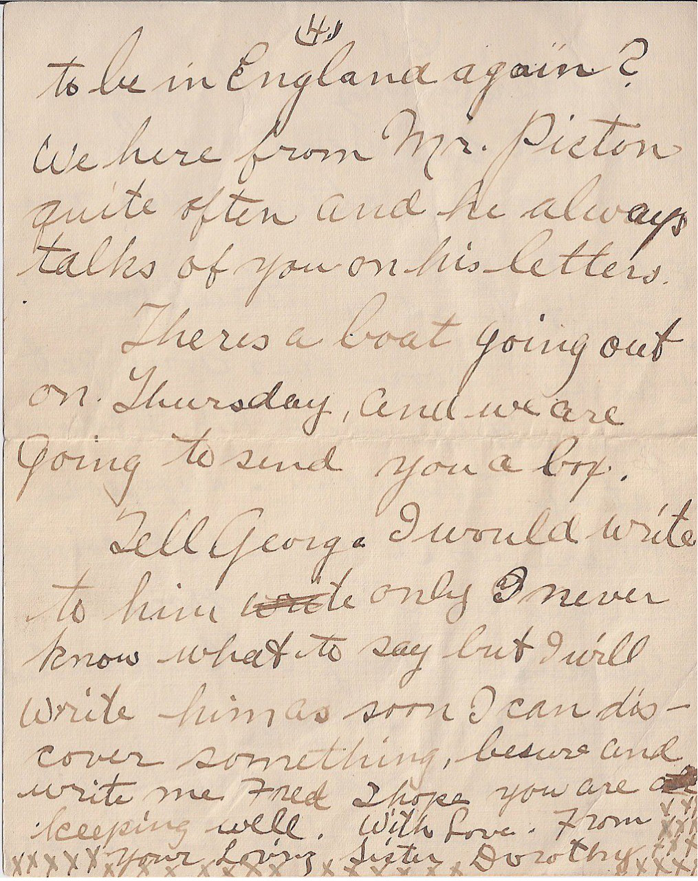 Letter to FREDERICK CHARLES SWAIT– The fourth of four pages of a letter sent from my grandmother to Uncle Fred, returned to her because he was deceased.