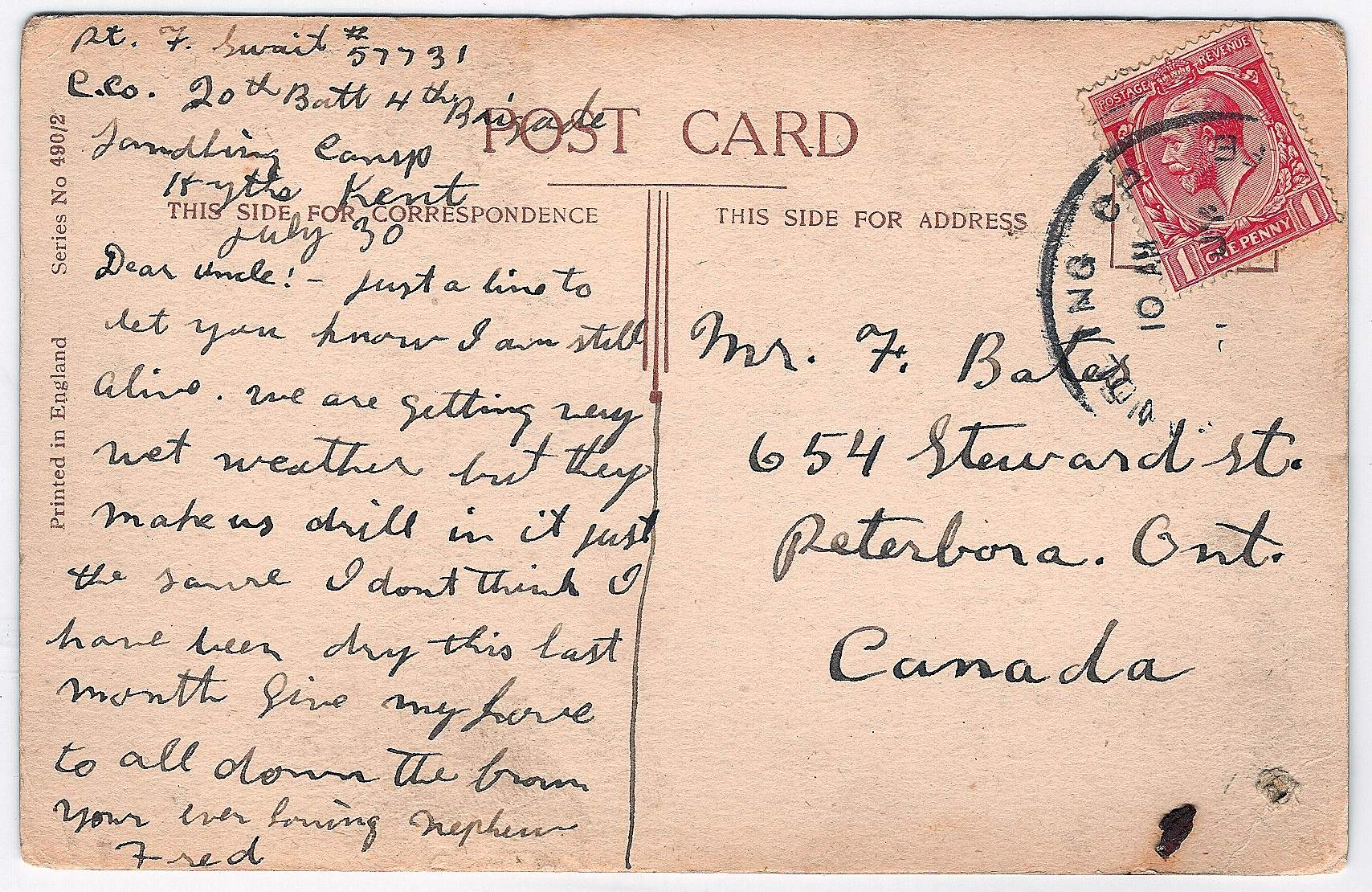 Post Card– Postcard sent by Frederick Swait.