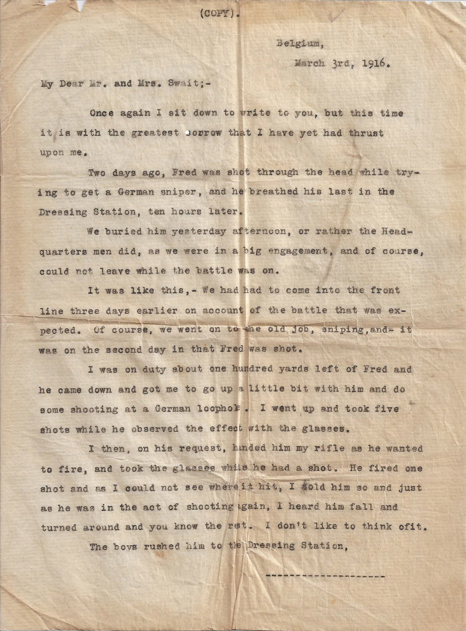 Photo of FREDERICK CHARLES SWAIT– Letter from Fred's friend to Mr. and Mrs. Swait