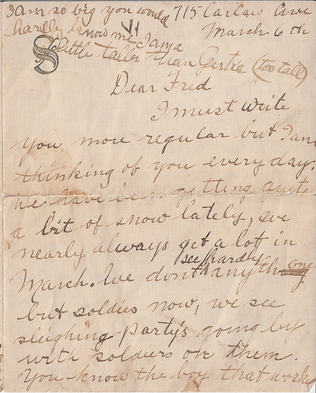 Letter to  FREDERICK CHARLES SWAIT– The first of four pages of a letter sent from my grandmother to Uncle Fred, returned to her because he was deceased.