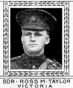 Photo of Ross Taylor– From: The Varsity Magazine Supplement Fourth Edition 1918 published by The Students Administrative Council, University of Toronto.   Submitted for the Soldiers' Tower Committee, University of Toronto, by Operation Picture Me.